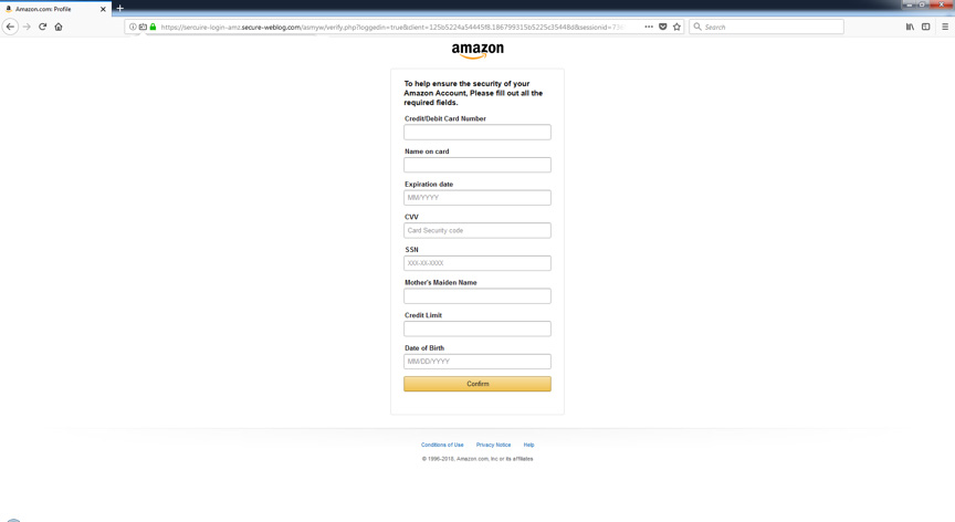Formulier van poging tot phishing door Amazon-imitator